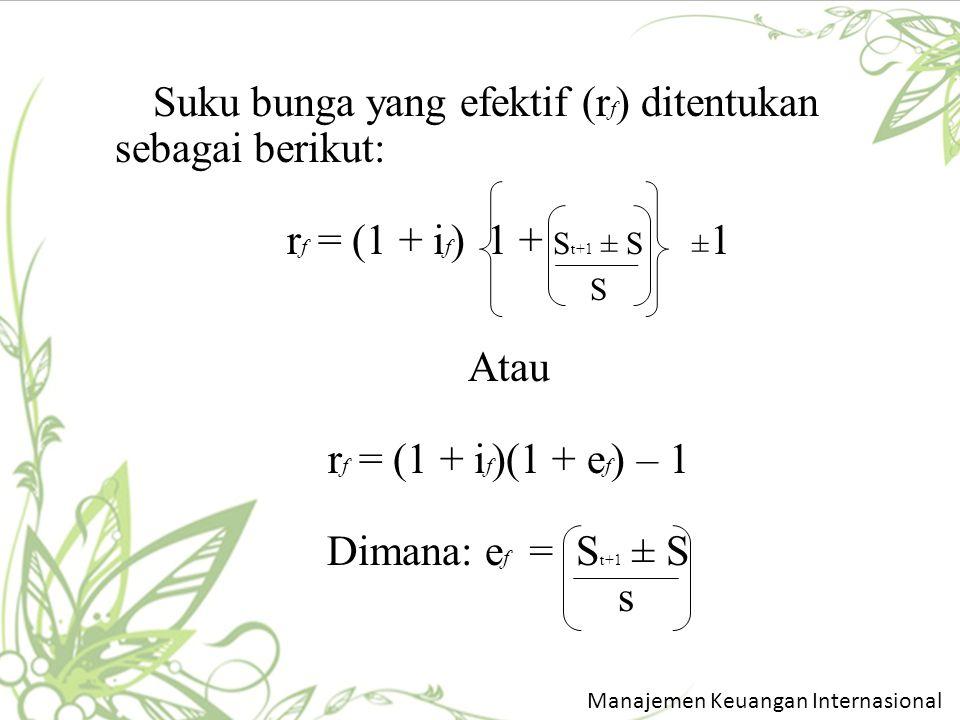 Suku bunga yang efektif (rf) ditentukan sebagai berikut: rf = (1 + if) 1 + St+1 ± S ±1 S Atau rf = (1 + if)(1 + ef) – 1 Dimana: ef = St+1 ± S s