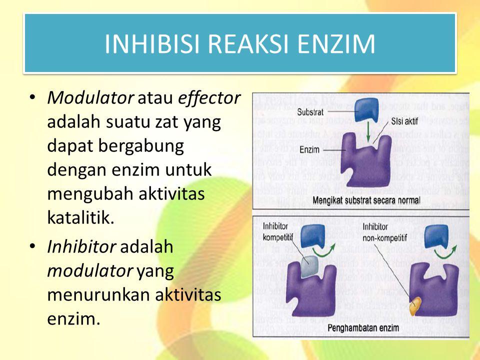 INHIBISI REAKSI ENZIM Modulator atau effector adalah suatu zat yang dapat bergabung dengan enzim untuk mengubah aktivitas katalitik.