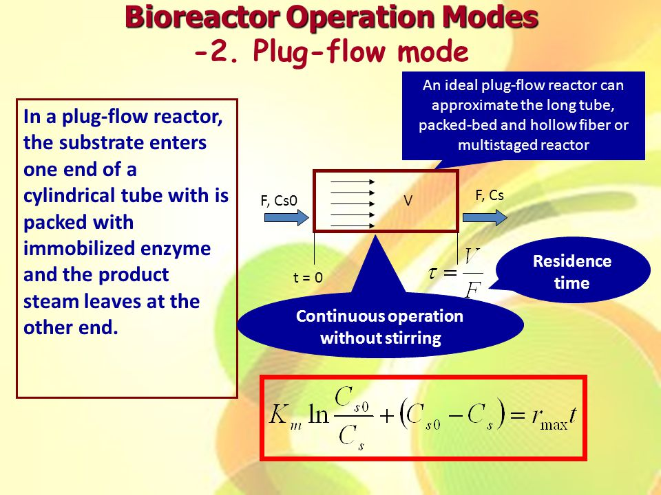 Bioreactor Operation Modes Continuous operation without stirring