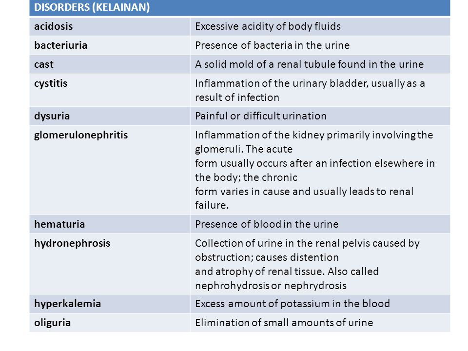 DISORDERS (KELAINAN) acidosis. Excessive acidity of body fluids. bacteriuria. Presence of bacteria in the urine.