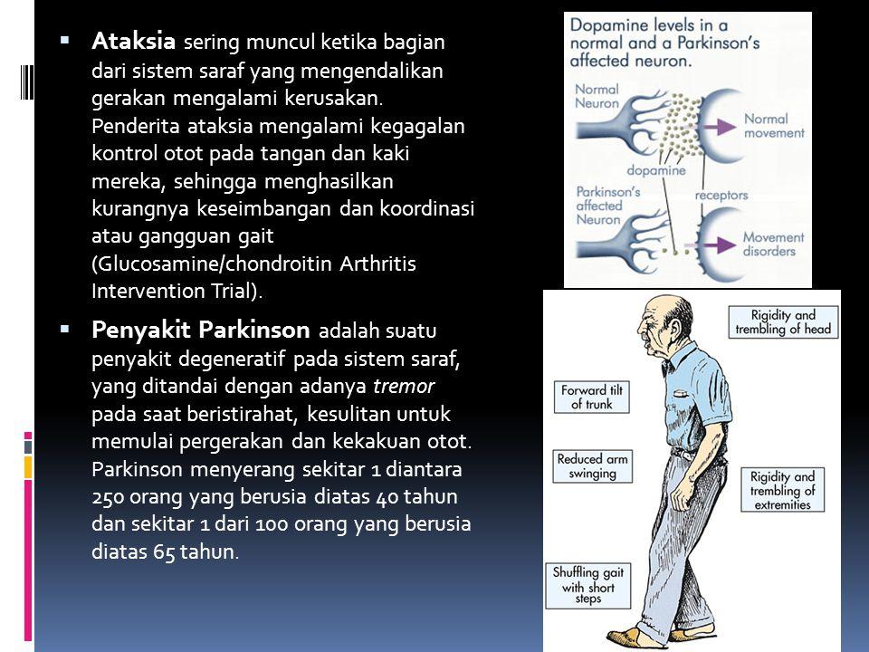 Ataksia sering muncul ketika bagian dari sistem saraf yang mengendalikan gerakan mengalami kerusakan. Penderita ataksia mengalami kegagalan kontrol otot pada tangan dan kaki mereka, sehingga menghasilkan kurangnya keseimbangan dan koordinasi atau gangguan gait (Glucosamine/chondroitin Arthritis Intervention Trial).