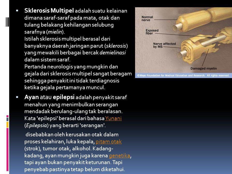Sklerosis Multipel adalah suatu kelainan dimana saraf-saraf pada mata, otak dan tulang belakang kehilangan selubung sarafnya (mielin). Istilah sklerosis multipel berasal dari banyaknya daerah jaringan parut (sklerosis) yang mewakili berbagai bercak demielinasi dalam sistem saraf. Pertanda neurologis yang mungkin dan gejala dari sklerosis multipel sangat beragam sehingga penyakit ini tidak terdiagnosis ketika gejala pertamanya muncul.
