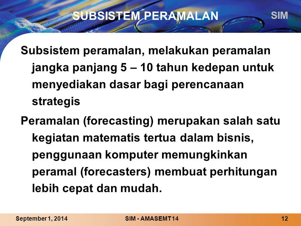 SUBSISTEM PERAMALAN Subsistem peramalan, melakukan peramalan jangka panjang 5 – 10 tahun kedepan untuk menyediakan dasar bagi perencanaan strategis.