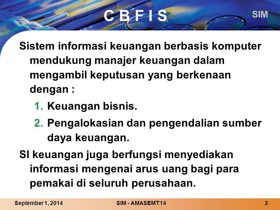 C B F I S Sistem informasi keuangan berbasis komputer mendukung manajer keuangan dalam mengambil keputusan yang berkenaan dengan :