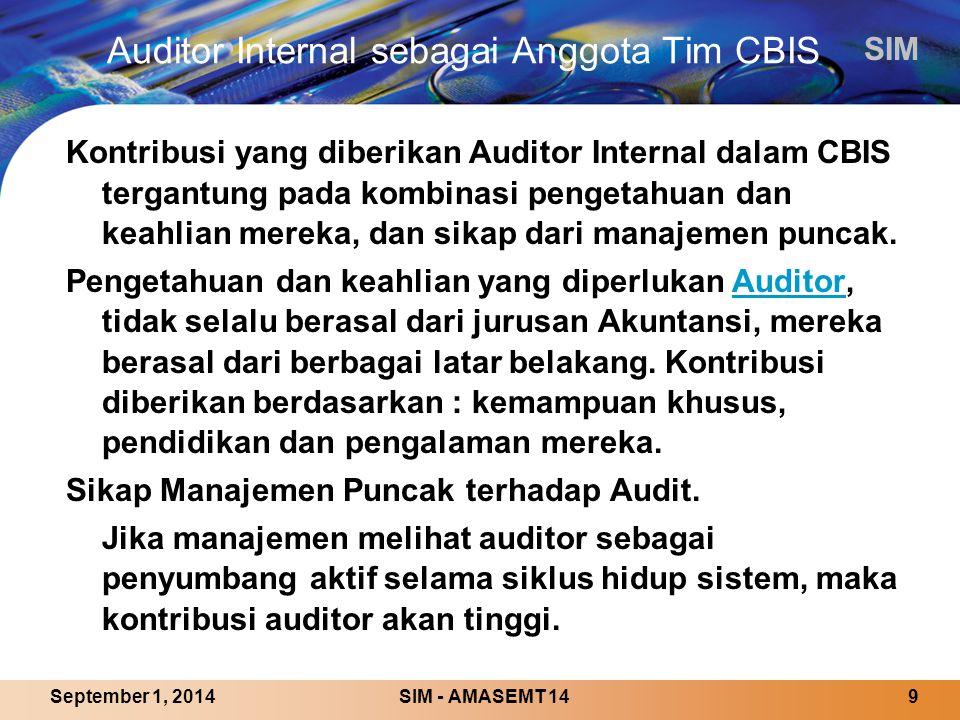 Auditor Internal sebagai Anggota Tim CBIS