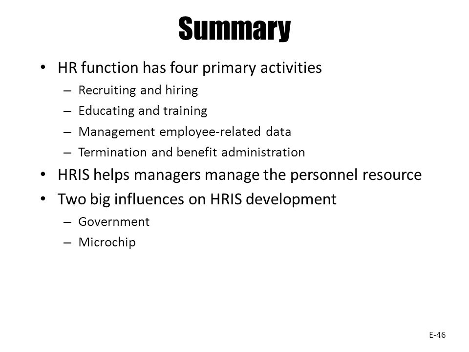 Summary HR function has four primary activities
