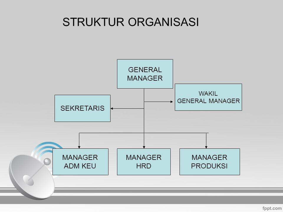 STRUKTUR ORGANISASI GENERAL MANAGER SEKRETARIS MANAGER ADM KEU MANAGER