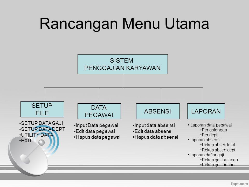 Rancangan Menu Utama SISTEM PENGGAJIAN KARYAWAN SETUP FILE DATA