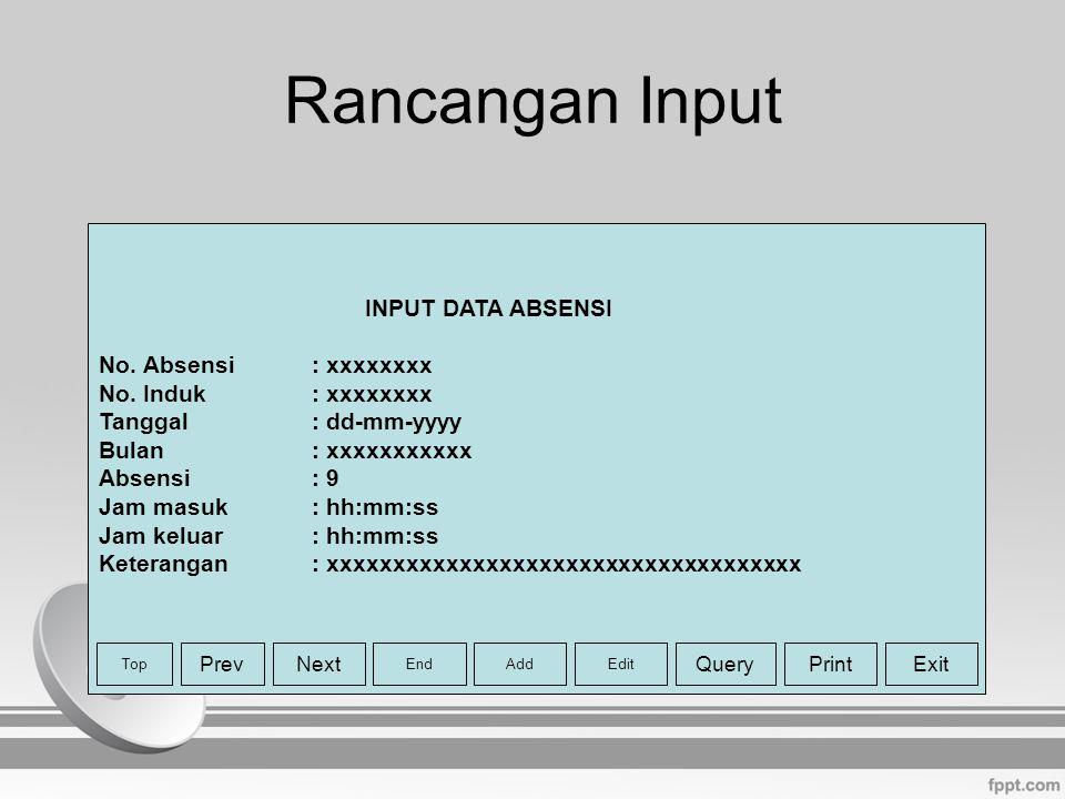 Rancangan Input INPUT DATA ABSENSI No. Absensi : xxxxxxxx