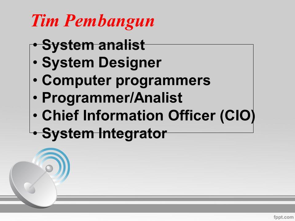 Tim Pembangun System analist System Designer Computer programmers