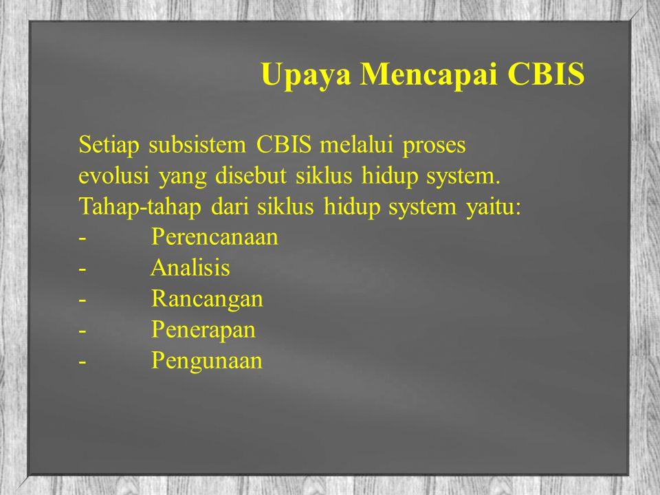 Upaya Mencapai CBIS Setiap subsistem CBIS melalui proses evolusi yang disebut siklus hidup system. Tahap-tahap dari siklus hidup system yaitu: