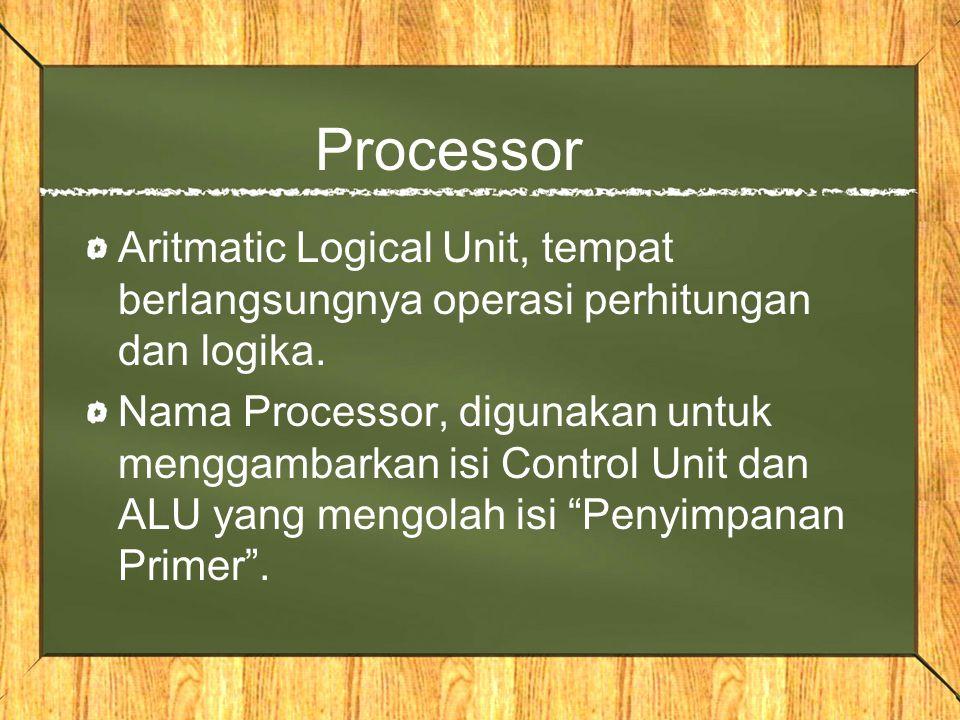 Processor Aritmatic Logical Unit, tempat berlangsungnya operasi perhitungan dan logika.