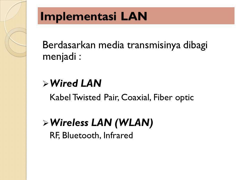 Implementasi LAN Berdasarkan media transmisinya dibagi menjadi :