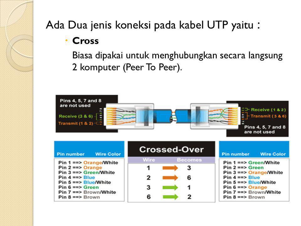 Ada Dua jenis koneksi pada kabel UTP yaitu :