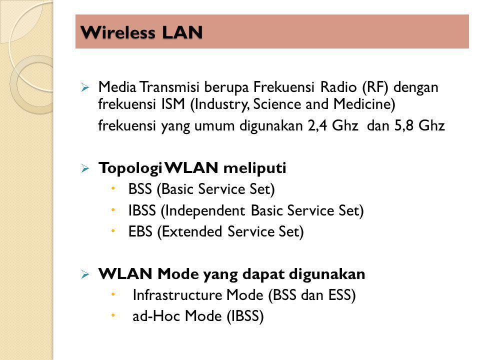 Wireless LAN Media Transmisi berupa Frekuensi Radio (RF) dengan frekuensi ISM (Industry, Science and Medicine)