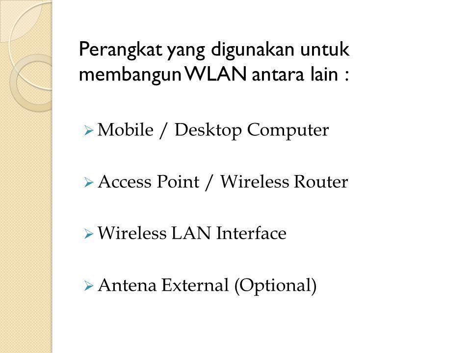 Perangkat yang digunakan untuk membangun WLAN antara lain :