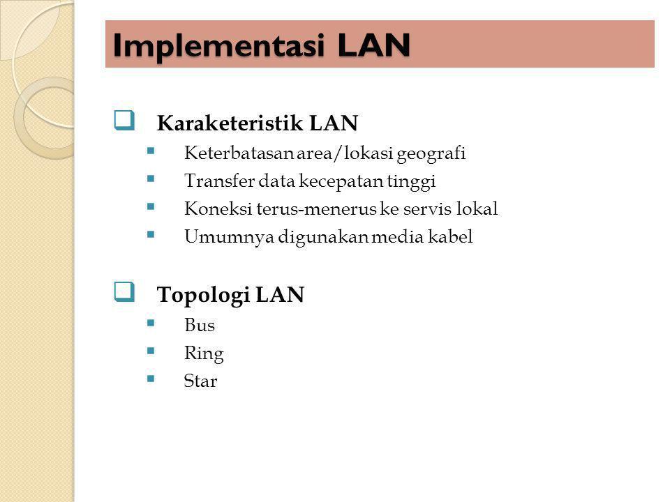 Implementasi LAN Karaketeristik LAN Topologi LAN