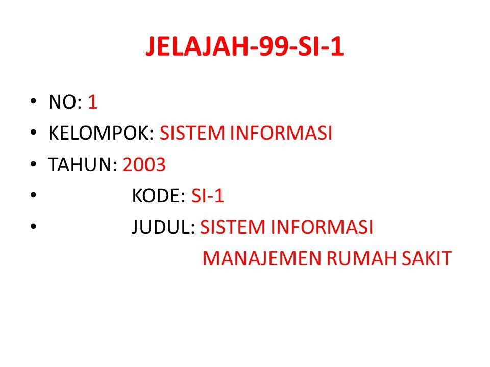 JELAJAH-99-SI-1 NO: 1 KELOMPOK: SISTEM INFORMASI TAHUN: 2003