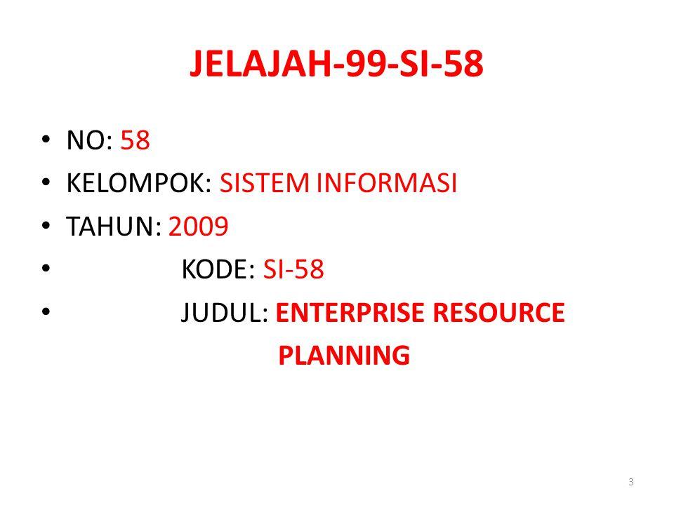 JELAJAH-99-SI-58 NO: 58 KELOMPOK: SISTEM INFORMASI TAHUN: 2009
