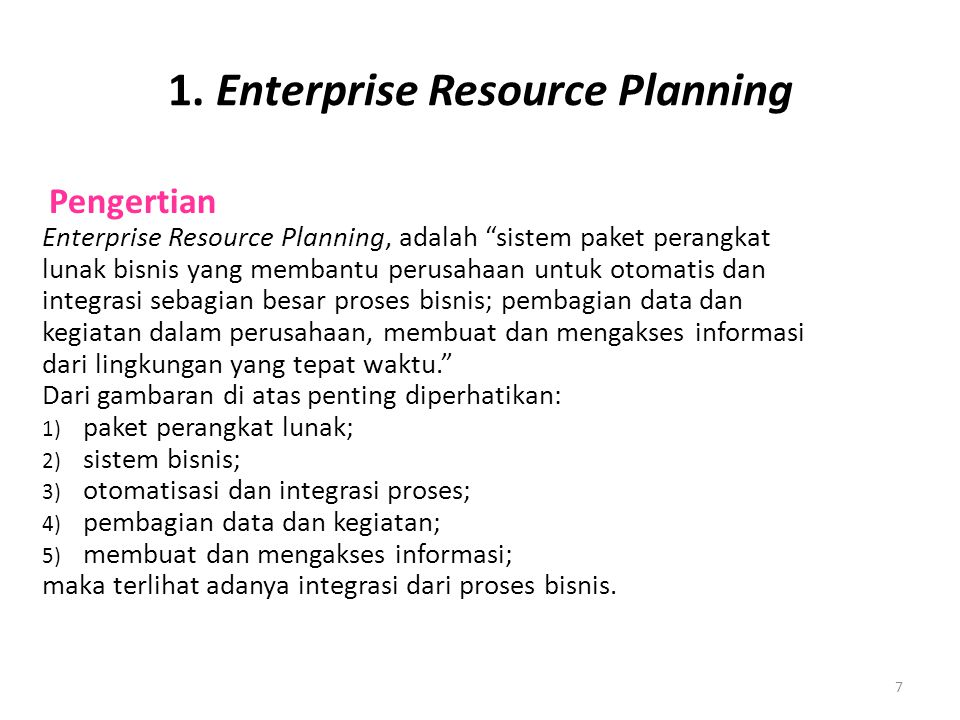 1. Enterprise Resource Planning
