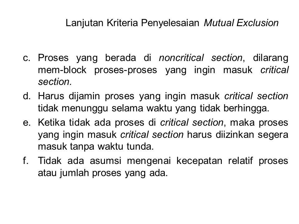 Lanjutan Kriteria Penyelesaian Mutual Exclusion