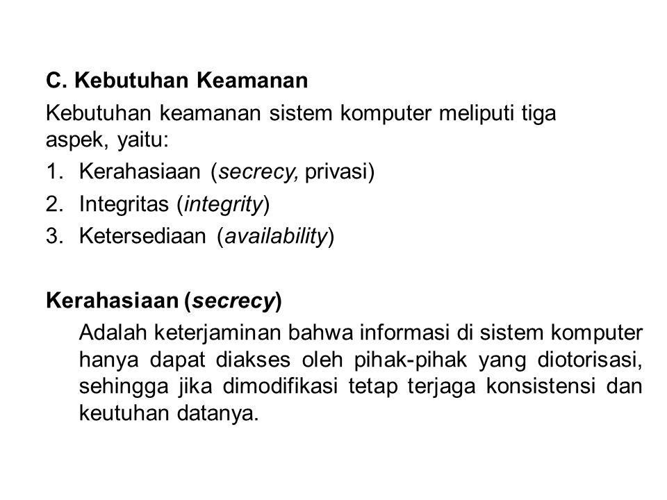 C. Kebutuhan Keamanan Kebutuhan keamanan sistem komputer meliputi tiga aspek, yaitu: Kerahasiaan (secrecy, privasi)