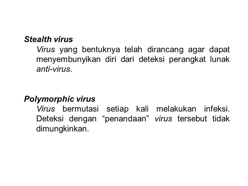 Stealth virus Virus yang bentuknya telah dirancang agar dapat menyembunyikan diri dari deteksi perangkat lunak anti-virus.