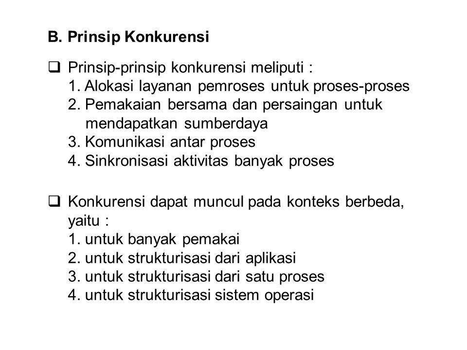 B. Prinsip Konkurensi Prinsip-prinsip konkurensi meliputi : 1. Alokasi layanan pemroses untuk proses-proses.