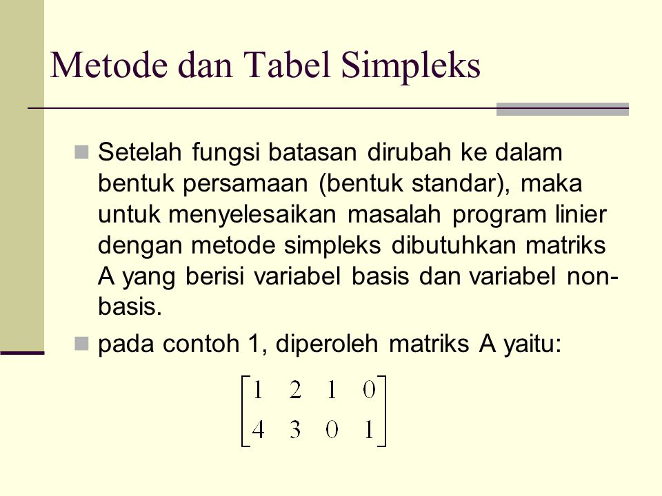 Metode dan Tabel Simpleks