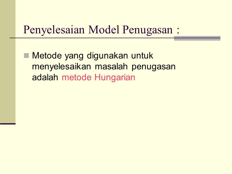 Penyelesaian Model Penugasan :