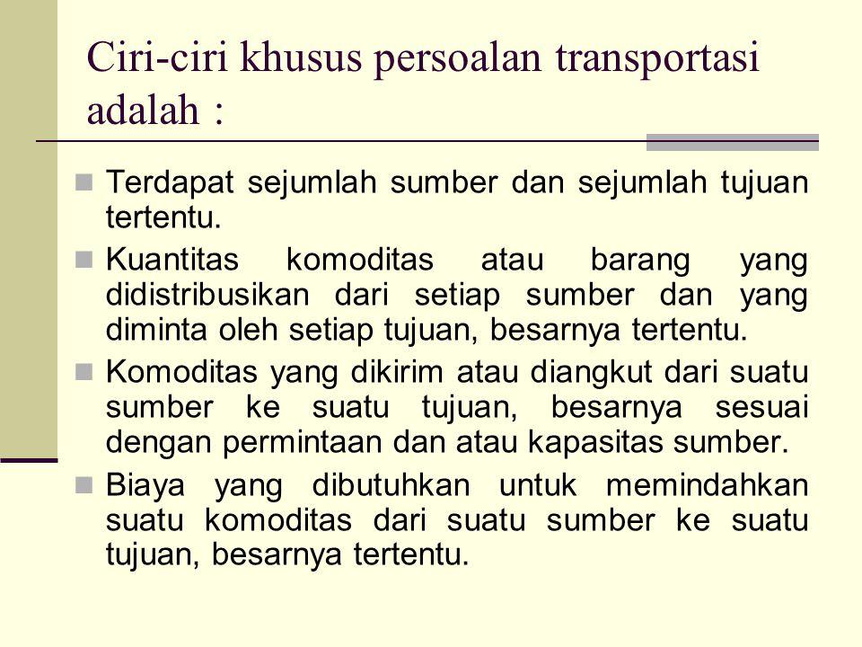 Ciri-ciri khusus persoalan transportasi adalah :