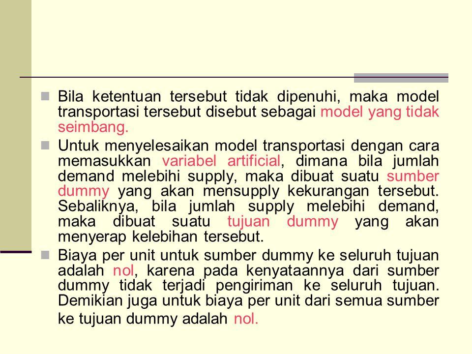 Bila ketentuan tersebut tidak dipenuhi, maka model transportasi tersebut disebut sebagai model yang tidak seimbang.