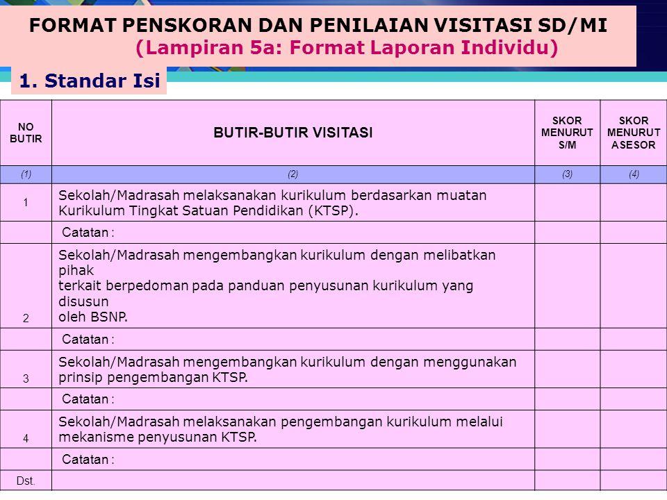 FORMAT PENSKORAN DAN PENILAIAN VISITASI SD/MI (Lampiran 5a: Format Laporan Individu)