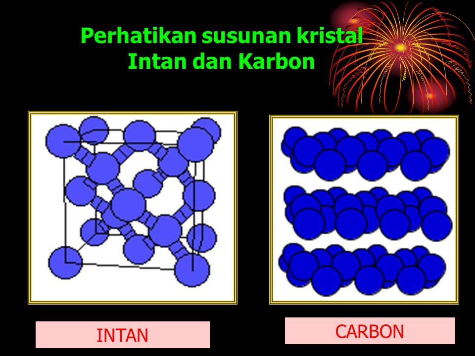 Perhatikan susunan kristal Intan dan Karbon