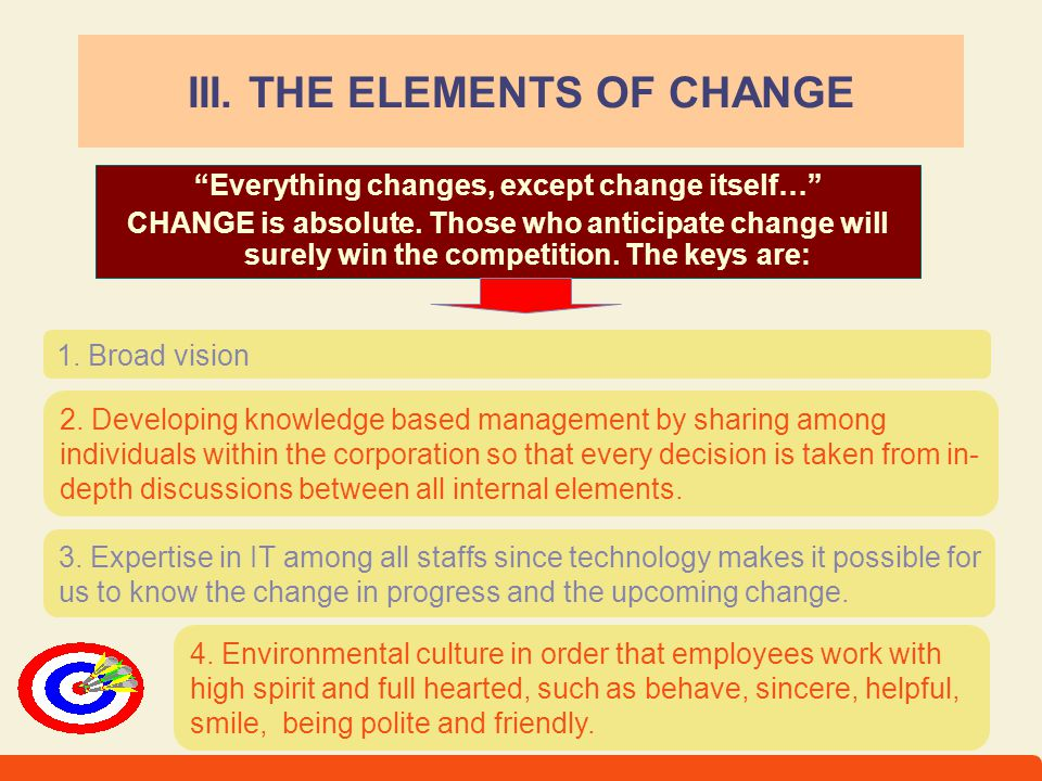 III. THE ELEMENTS OF CHANGE