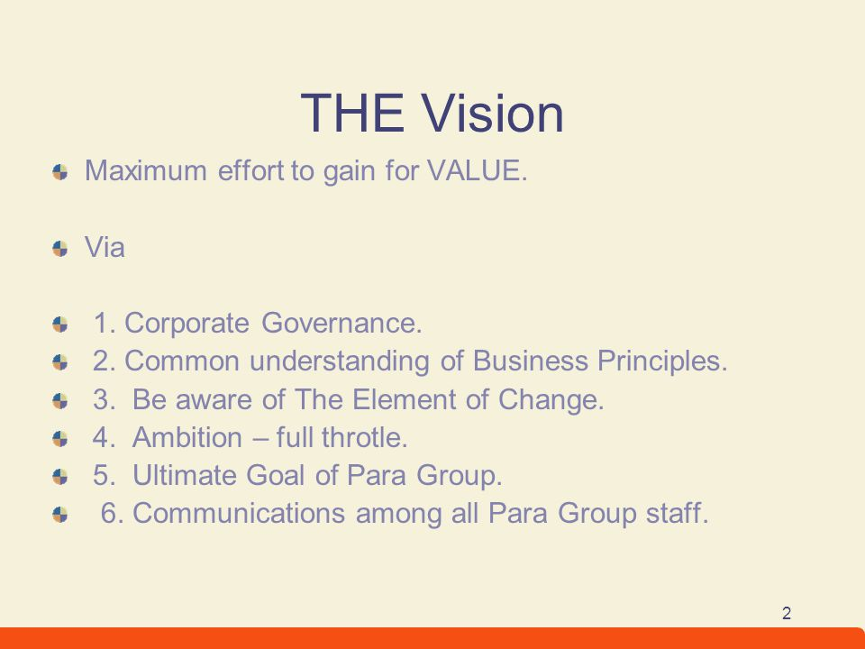 THE Vision Maximum effort to gain for VALUE. Via