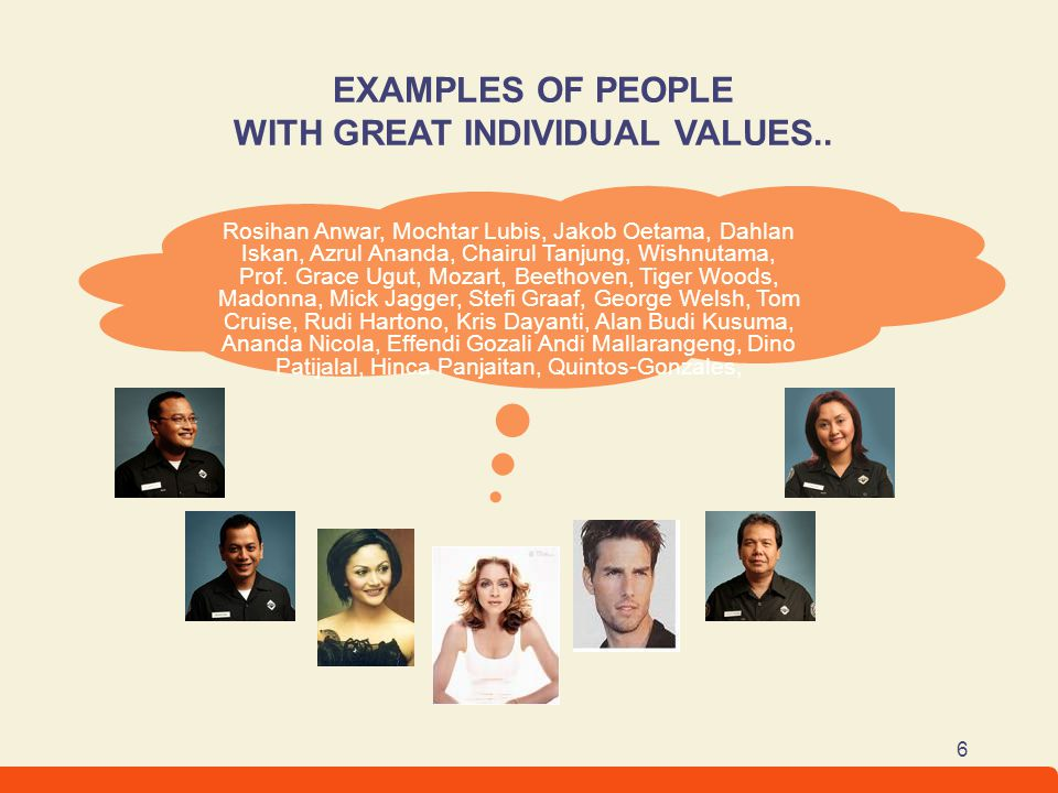 EXAMPLES OF PEOPLE WITH GREAT INDIVIDUAL VALUES..