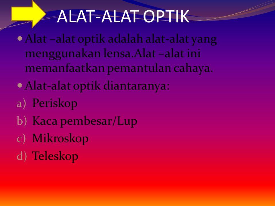 ALAT-ALAT OPTIK Alat –alat optik adalah alat-alat yang menggunakan lensa.Alat –alat ini memanfaatkan pemantulan cahaya.