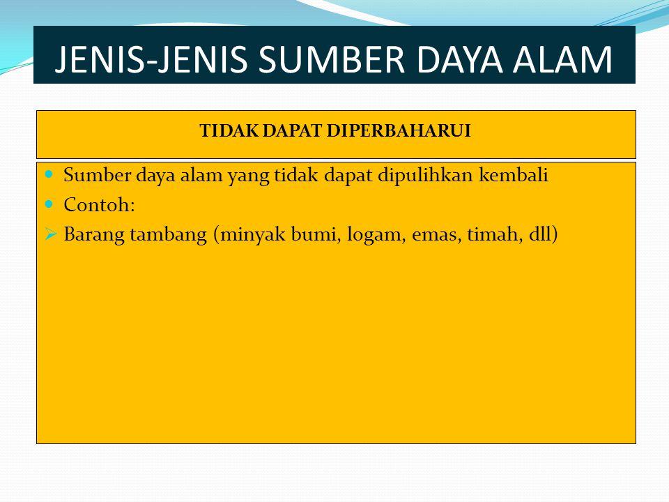 JENIS-JENIS SUMBER DAYA ALAM