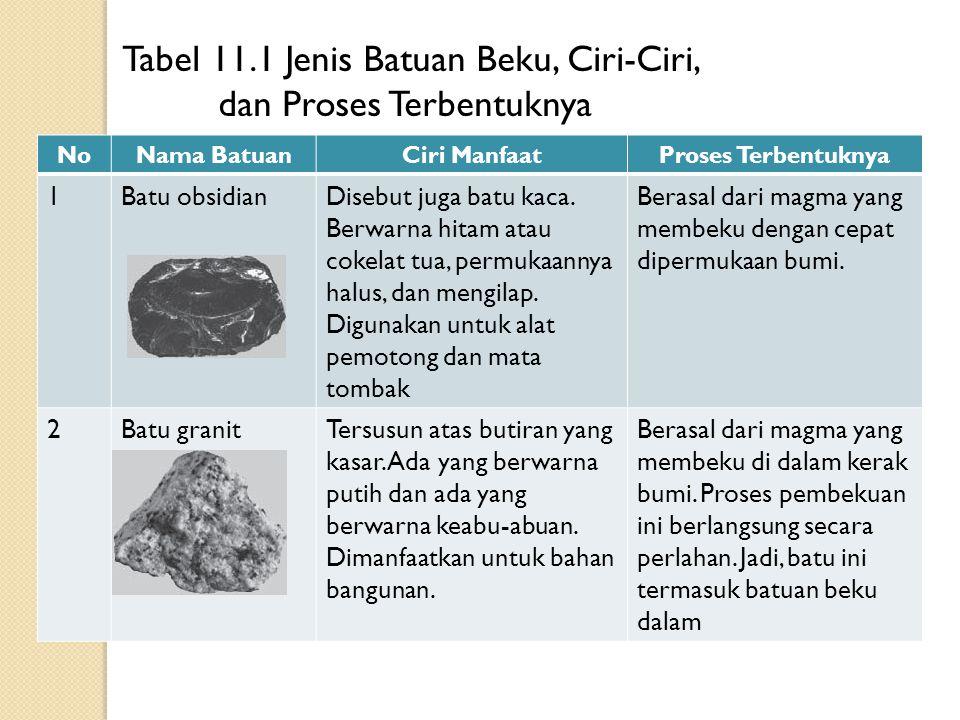 Tabel 11.1 Jenis Batuan Beku, Ciri-Ciri, dan Proses Terbentuknya