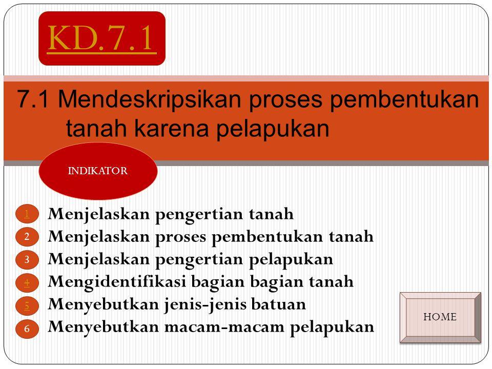 7.1 Mendeskripsikan proses pembentukan tanah karena pelapukan