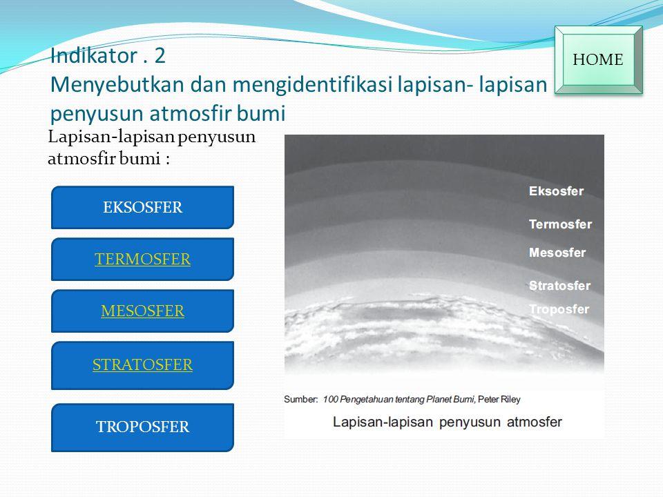 HOME Indikator . 2 Menyebutkan dan mengidentifikasi lapisan- lapisan penyusun atmosfir bumi. Lapisan-lapisan penyusun atmosfir bumi :