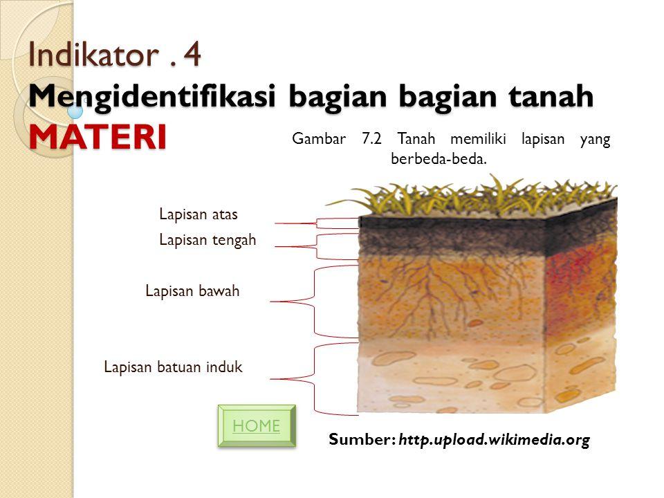 Indikator . 4 Mengidentifikasi bagian bagian tanah MATERI