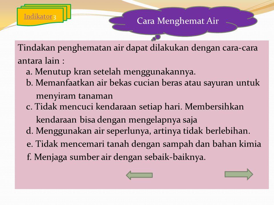 Indikator 3 Cara Menghemat Air.