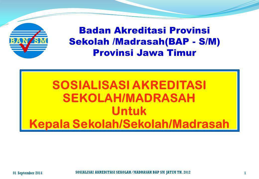 SOSIALISASI AKREDITASI Kepala Sekolah/Sekolah/Madrasah