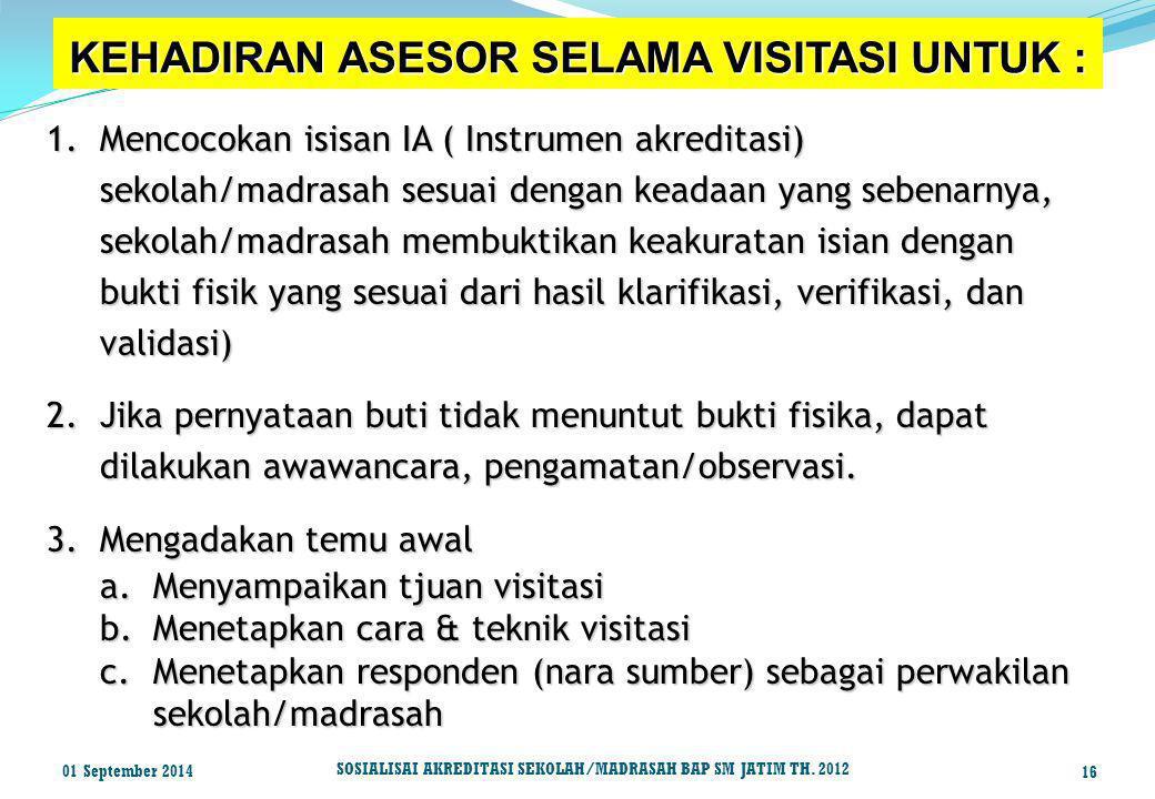 KEHADIRAN ASESOR SELAMA VISITASI UNTUK :