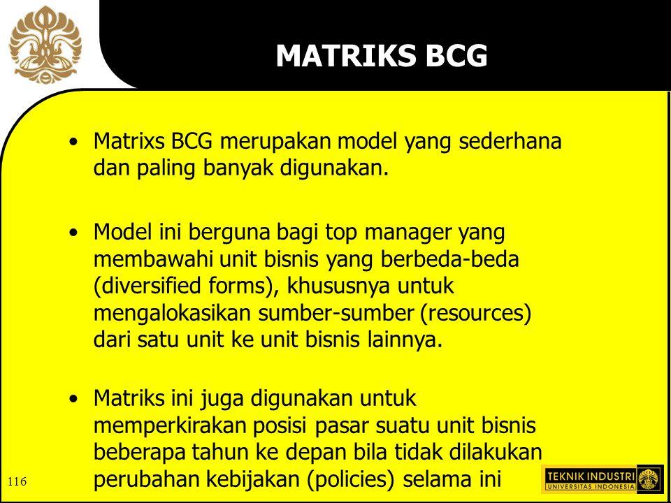 MATRIKS BCG Matrixs BCG merupakan model yang sederhana dan paling banyak digunakan.