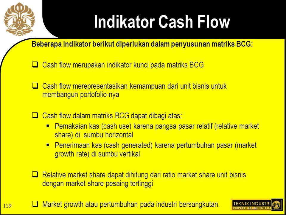 Indikator Cash Flow Beberapa indikator berikut diperlukan dalam penyusunan matriks BCG: Cash flow merupakan indikator kunci pada matriks BCG.