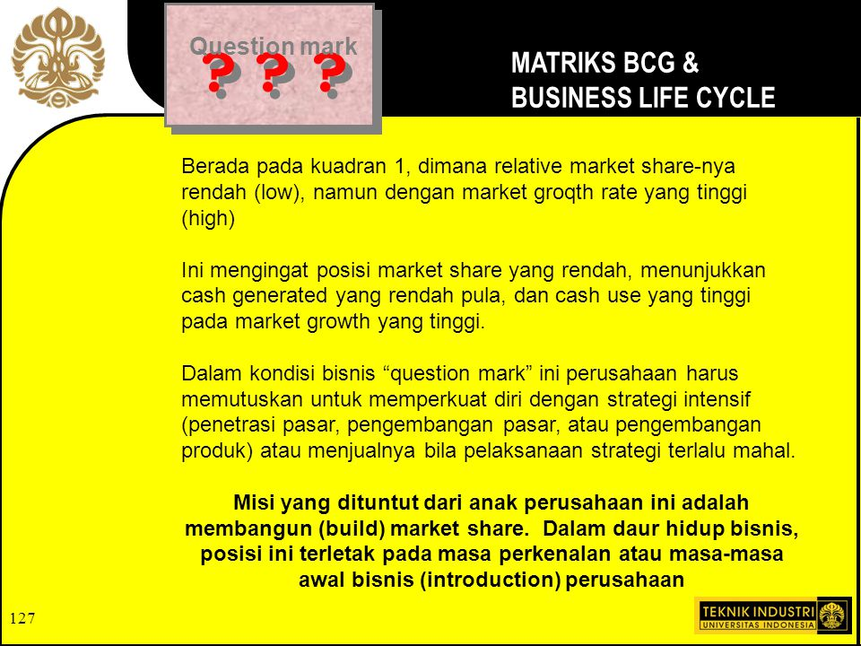 MATRIKS BCG & BUSINESS LIFE CYCLE Question mark