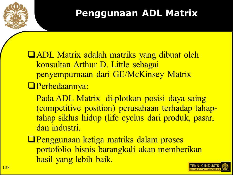 Penggunaan ADL Matrix ADL Matrix adalah matriks yang dibuat oleh konsultan Arthur D. Little sebagai penyempurnaan dari GE/McKinsey Matrix.